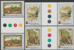 Australian Stamps SG 856-8 Christmas 1982 set of 3 colour control circle gutter pairs (AF1/210)